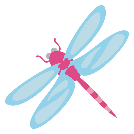 Purple Dragonfly with Blue Wings Illustration