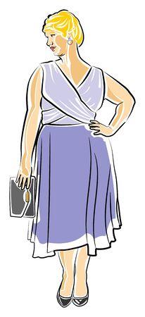 Short Haired Blonde Woman in een cocktailjurk Stock Illustratie