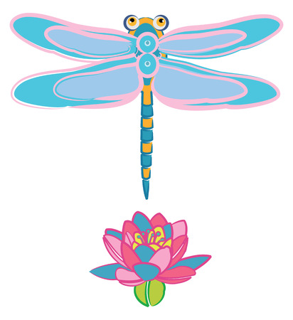 Blue Dragonfly Flying over a Water Lily