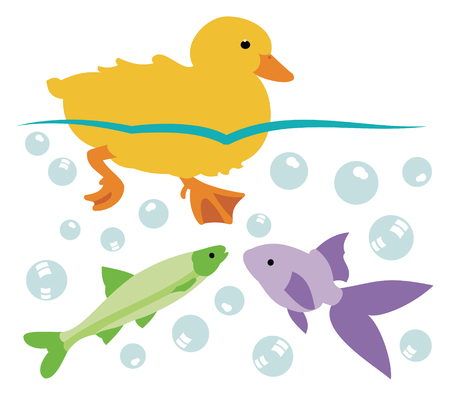 Duckling swimming with two fish on white background, vector illustration. Иллюстрация