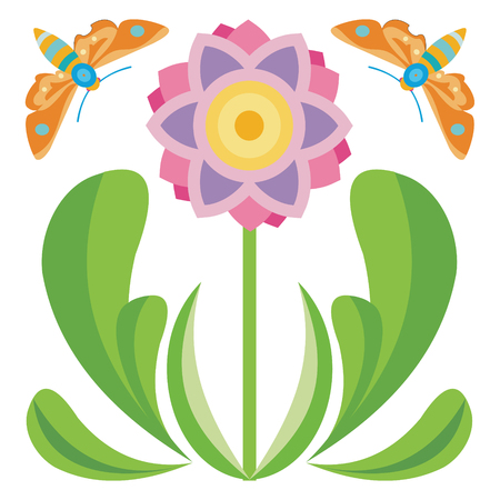 Colorful flower and moths on white background, vector illustration.