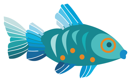 Blue fish on white background, vector illustration.
