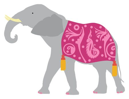 Elephant wearing a purple blanket on white background, vector illustration.