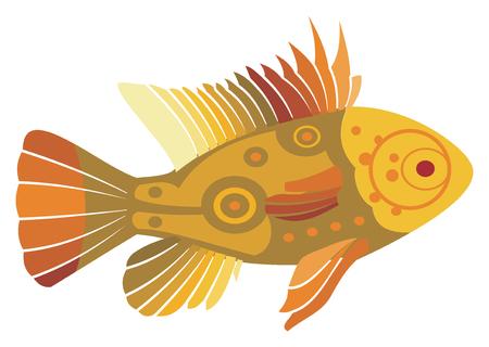 Gold fish on white background, vector illustration.