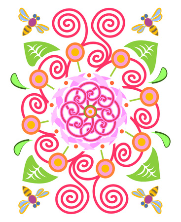 Flower garden and bees pattern on white background, vector illustration.