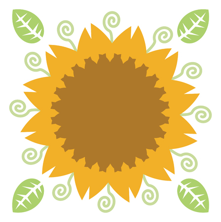 Bright yellow sunflower and green leaves on white background.