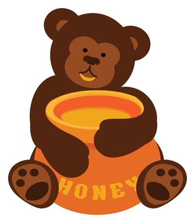 Teddy Bear Clutching a Pot of Honey in colorful cartoon clip art illustration.