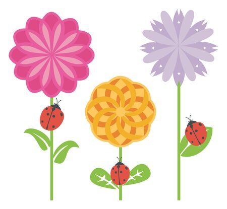 Ladybugs in a flower garden on white background, vector illustration.