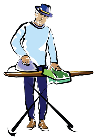 A middle age man wearing a hat and ironing. Иллюстрация
