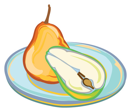 Whole and Cut Pear on a Blue Plate