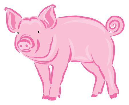 Pink Piglet Illustration