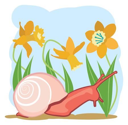 Snail in a Flower Garden Иллюстрация
