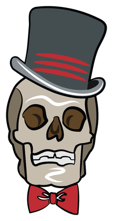 Skull in a Top Hat and Red Bow Tie