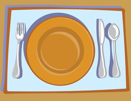 Plate and Flatware on a Placemat