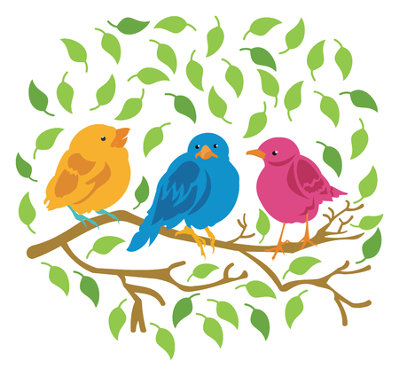 Three Birds Sitting on a Tree Branch Surrounded by Leaves