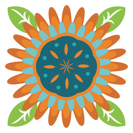 Turquoise Flower with Orange Petals and Green Leaves