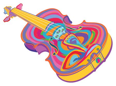 Kleurrijke viool Stock Illustratie