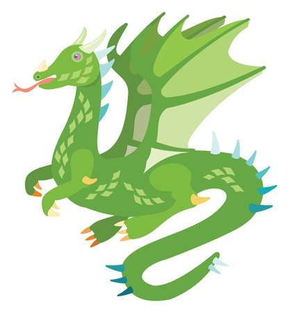 Vector drawing of a cute green dragon with wings Çizim