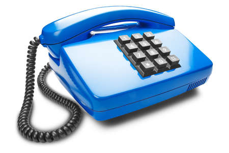 blue landline phone on the isolated white background with shadow