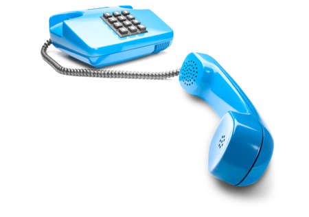Landline phone on isolated background with a shadow Stock Photo