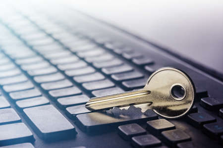 Key lock on PC keyboard. Ð¡oncept of computer security and protection of personal data on Internet.