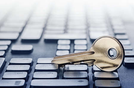 Key lock on PC keyboard. �¡oncept of computer security and protection of personal data on Internet. Stockfoto