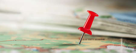 Location marking with pin on map. Travel and journey concept.