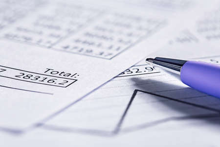 Accounting document with pen and checking financial chart. Concept of banking, financial report and financial audit.