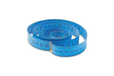 tailor measuring tape in blue color on isolated white background