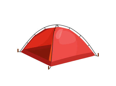 Camping tent in outdoor travel. Vector illustration for nature tourism, travel, adventure in cartoon style. The concept of the tent element. Vektorové ilustrace