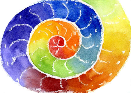 Water color of the image a rainbow in the form of a spiral Stock Photo