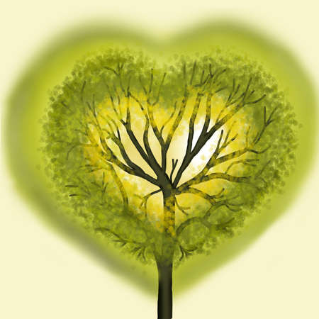 plats: Green tree in the form of heart