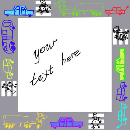Photo frame or the text with cars a pedestrian crossing a cat and a mouse, children Stock Photo - 12203351