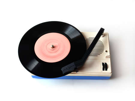 Rendered vinyl player isolated on white background   photo