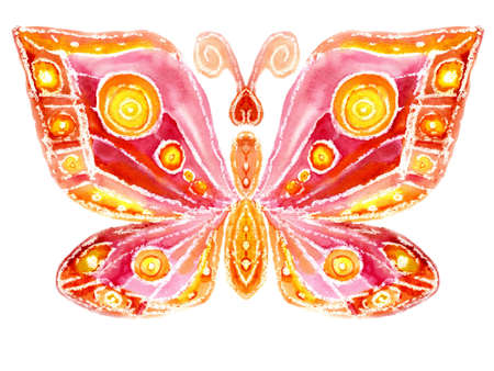 Watercolor the red butterfly on a white background