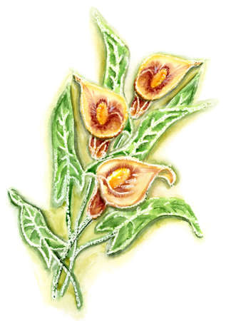 Watercolor a bunch of flowers anthurium Stock Photo