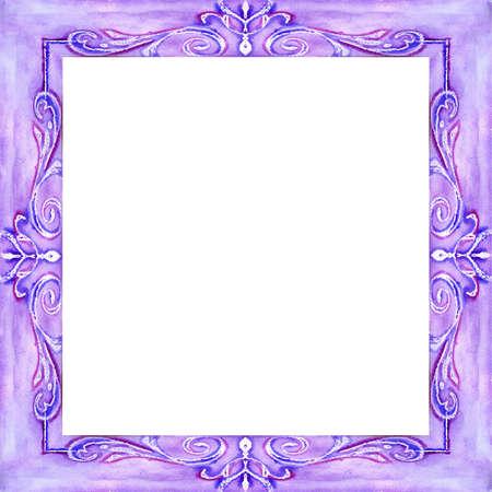 Watercolor a square pattern of dark blue color Stock Photo