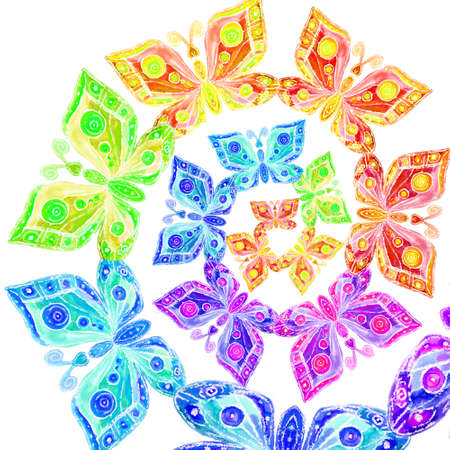 나선형의 무지개의 형태로 나비의 이미지의 수채화
