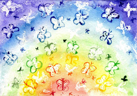 Watercolor the butterfly in the form of a rainbow photo