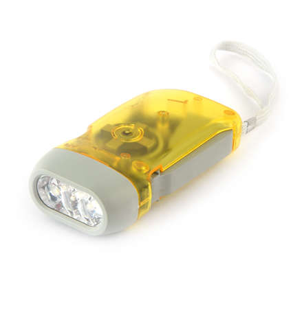 yellow torchlight on white background photo