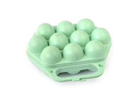 green container for egg on white background Stock Photo