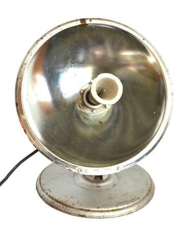 parabolic mirror: Old electroheater on a white background