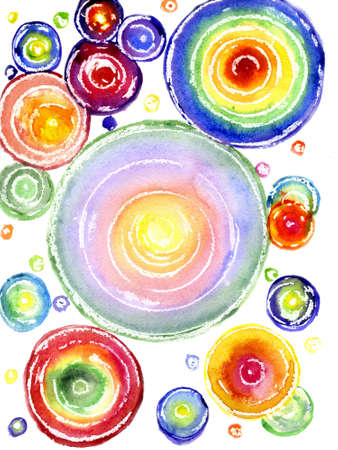 Watercolor, multi-colored circles on a white background Stock Photo