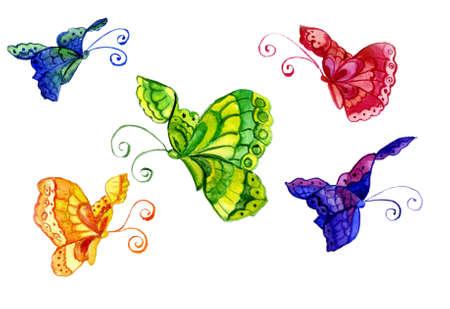 tekening vlinder: Aquarel van het beeld van de vlinder in de vorm Stockfoto