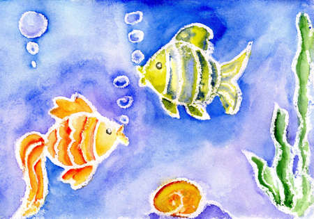 Watercolor of a small fish photo