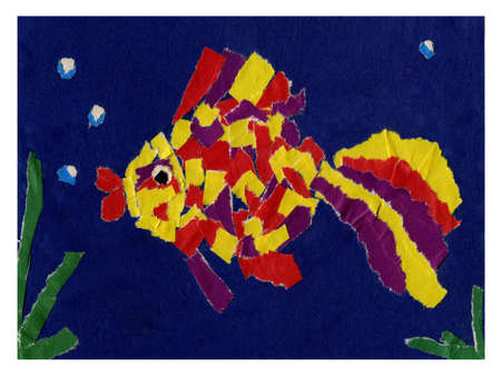 fish made from colour paper photo