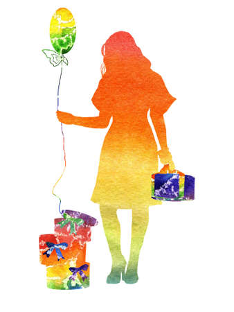 watercolor the iridescent girl with gifts and a sphere photo