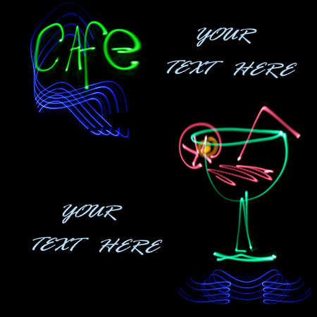 abstract cafe and goblet, for text, obtained with a freezelight photographic style  Stock Photo