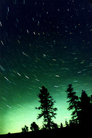 Star movement is caused by Earths rotation and cameras long exposure.  photo