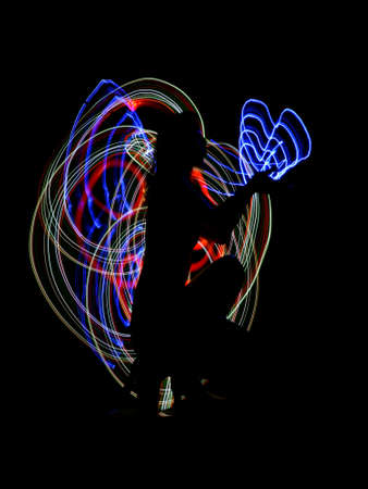 abstract the girl , received with freezelight photographic style  Stock Photo